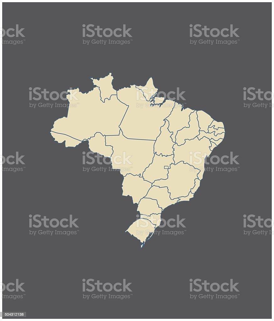 Brazil map outline vector in gray background vector art illustration