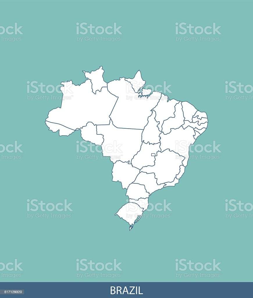 Brazil map outline vector with states borders in blue background vector art illustration