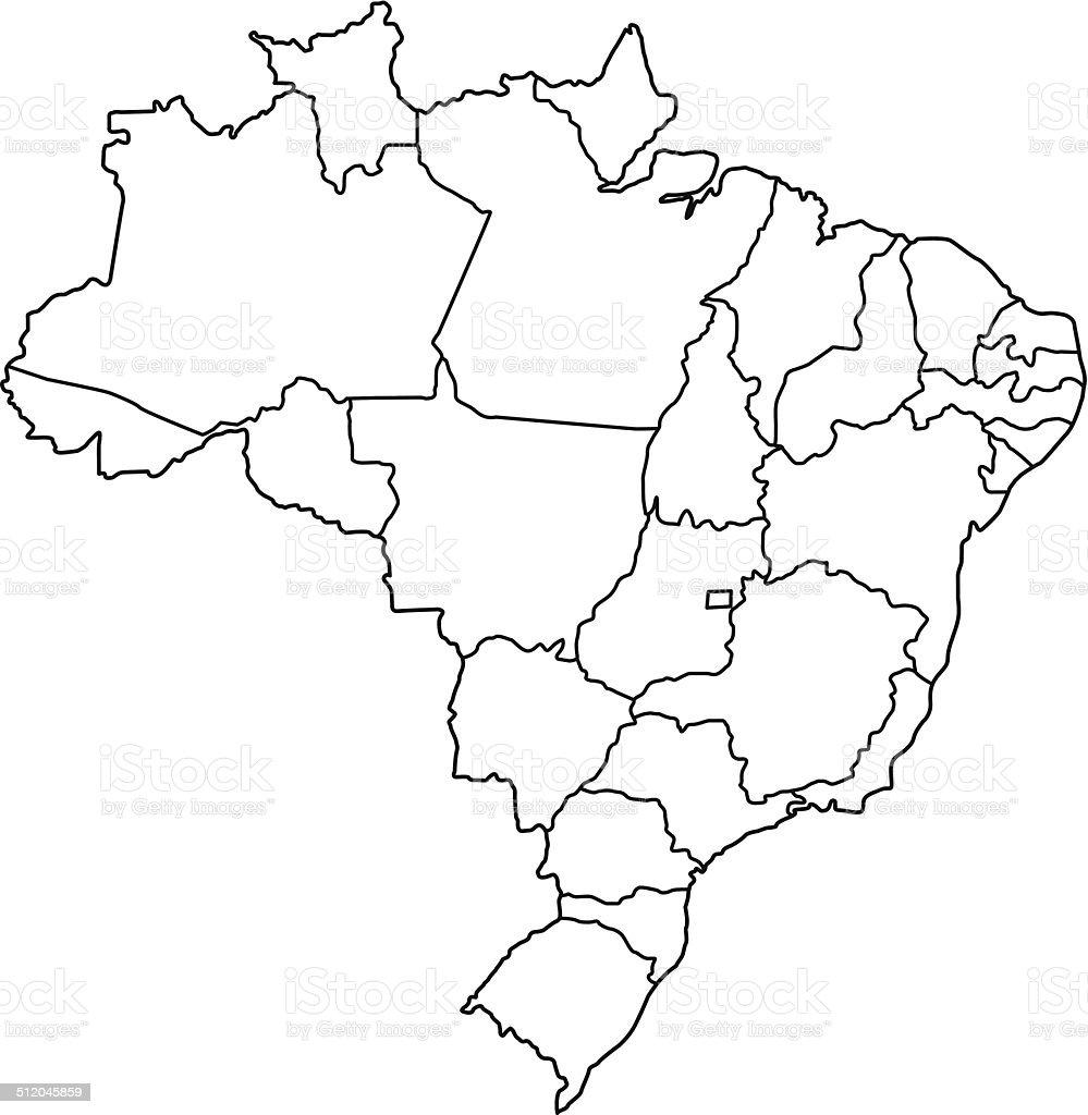 Brazil map outline white background vector art illustration
