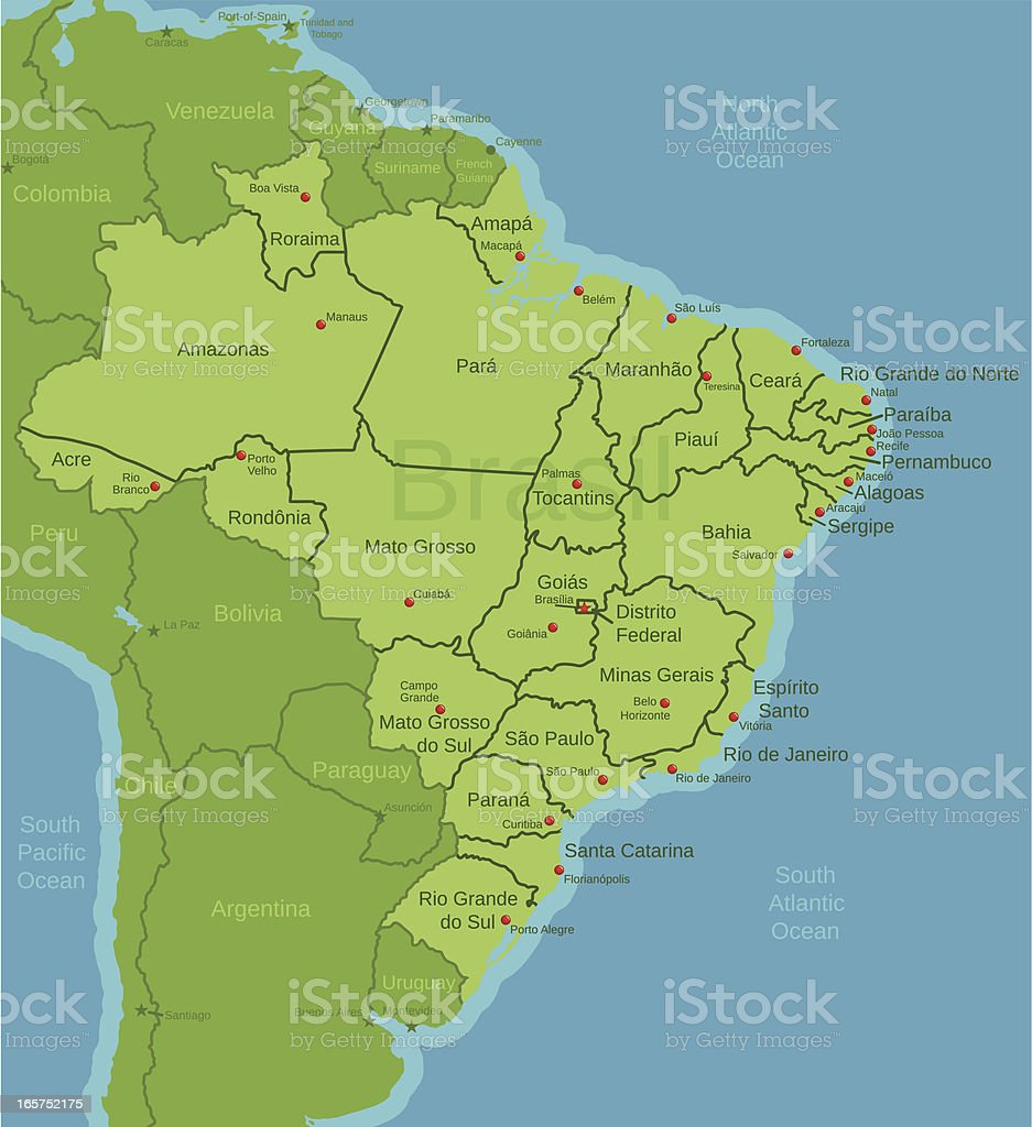 Brazil Map showing states royalty-free stock vector art