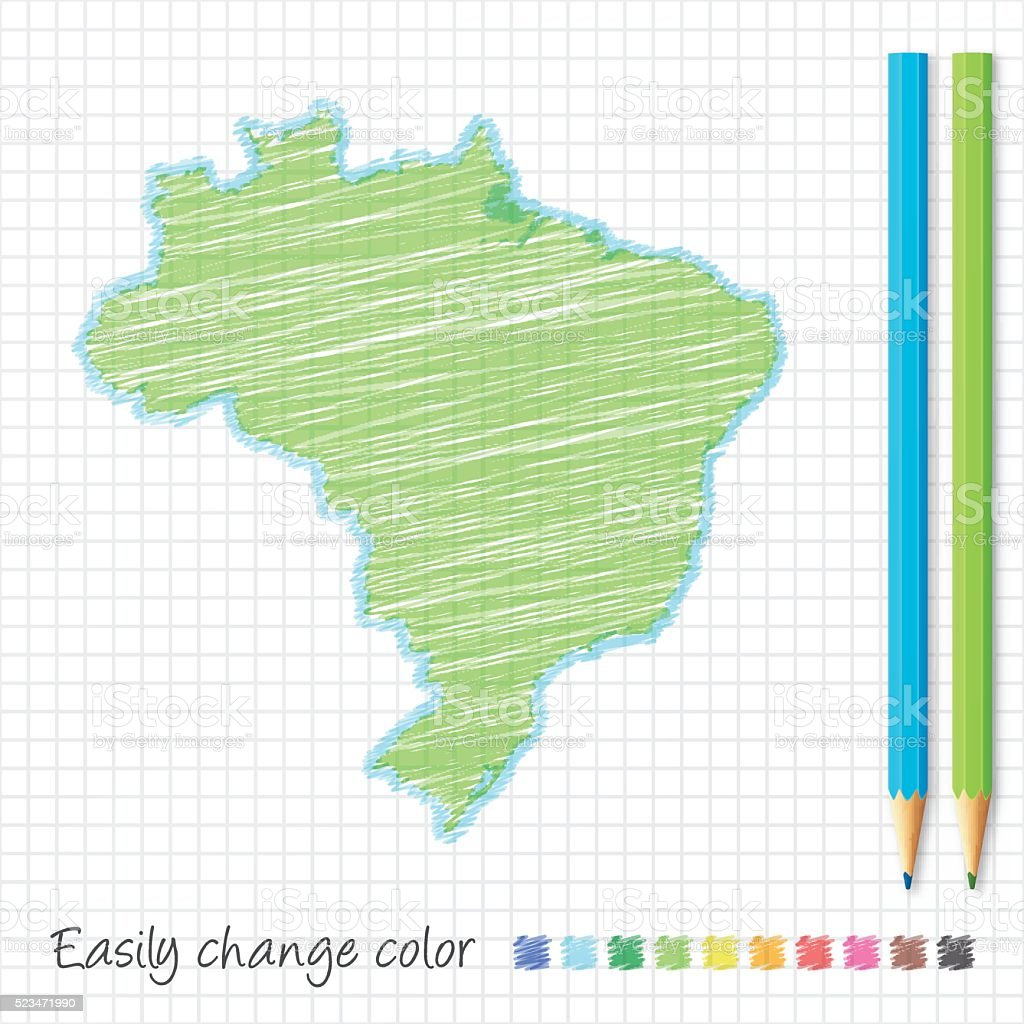 Brazil map sketch with color pencils, on grid paper vector art illustration
