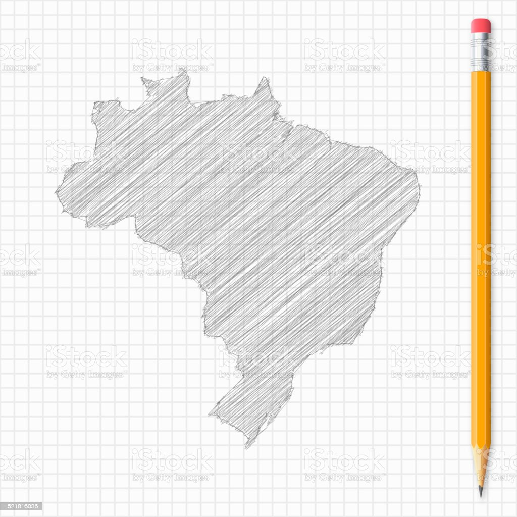 Brazil map sketch with pencil on grid paper vector art illustration