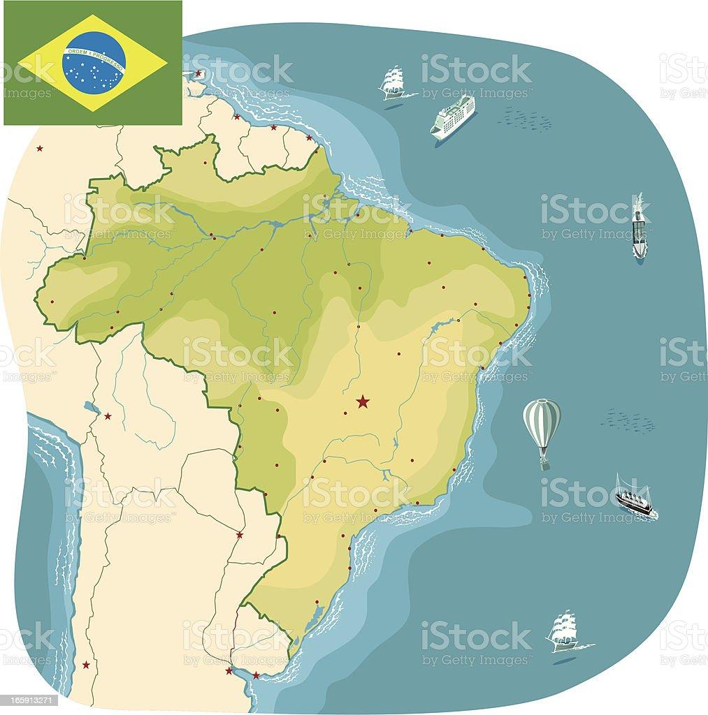 Brazil Map Stock Vector Art  IStock - Map of south america amazon river
