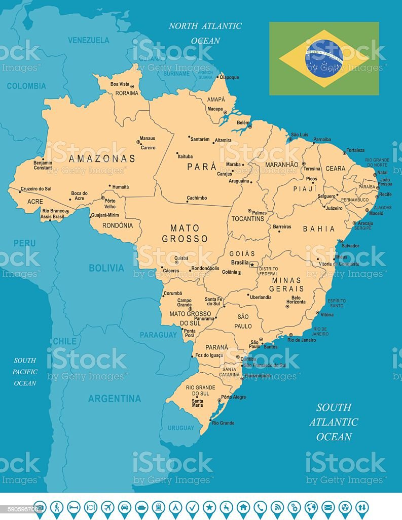 Brazil map stock vector art 590596708 istock brazil map royalty free stock vector art gumiabroncs Image collections