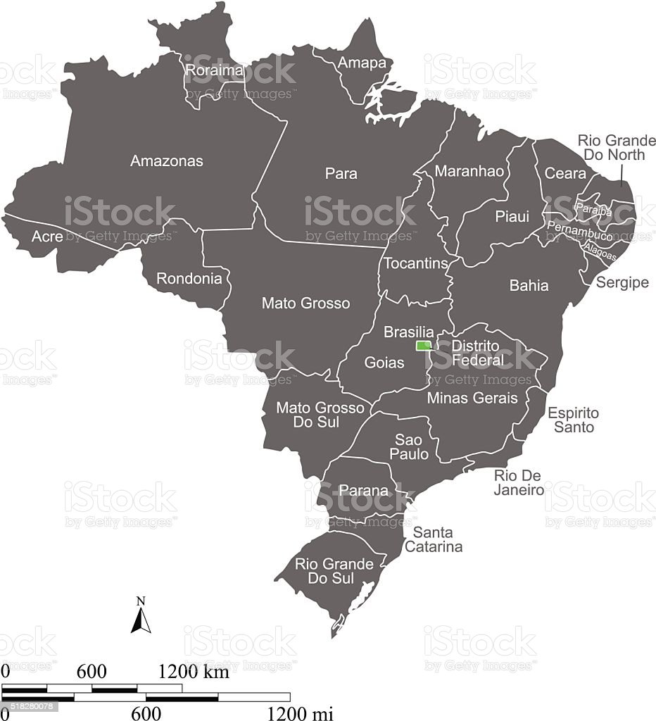Brazil map vector outline with scales and states or provinces vector art illustration