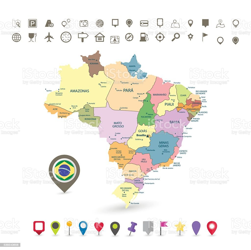 Brazil map with flag and navigation icons vector art illustration