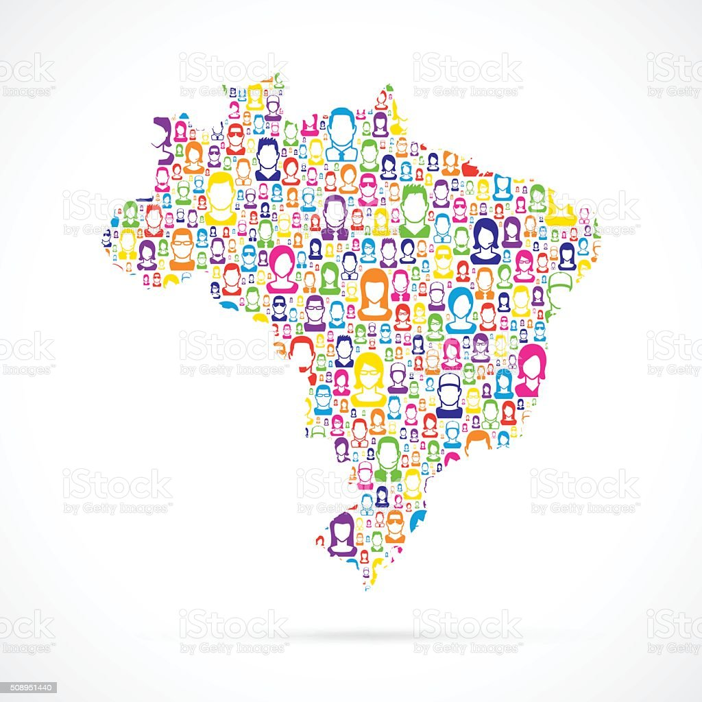 Brazil Map with People vector art illustration