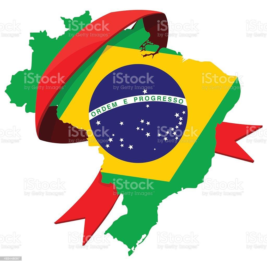 Carte du Brésil avec ruban stock vecteur libres de droits libre de droits