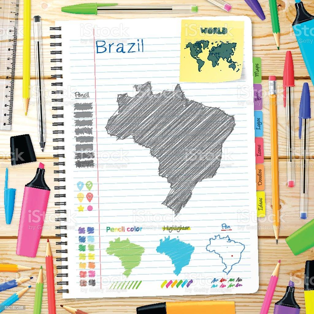 Brazil maps hand drawn on notebook. Wooden Background vector art illustration