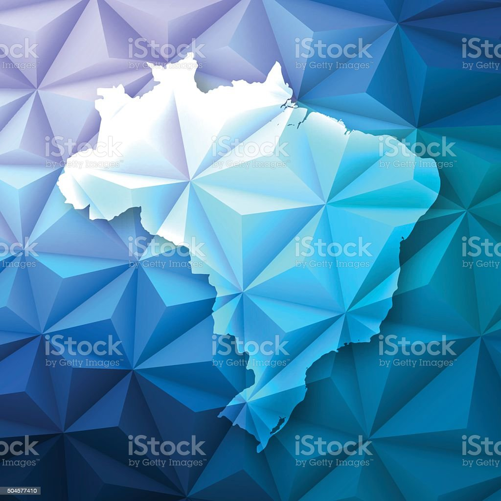 Brazil on Abstract Polygonal Background - Low Poly, Geometric vector art illustration