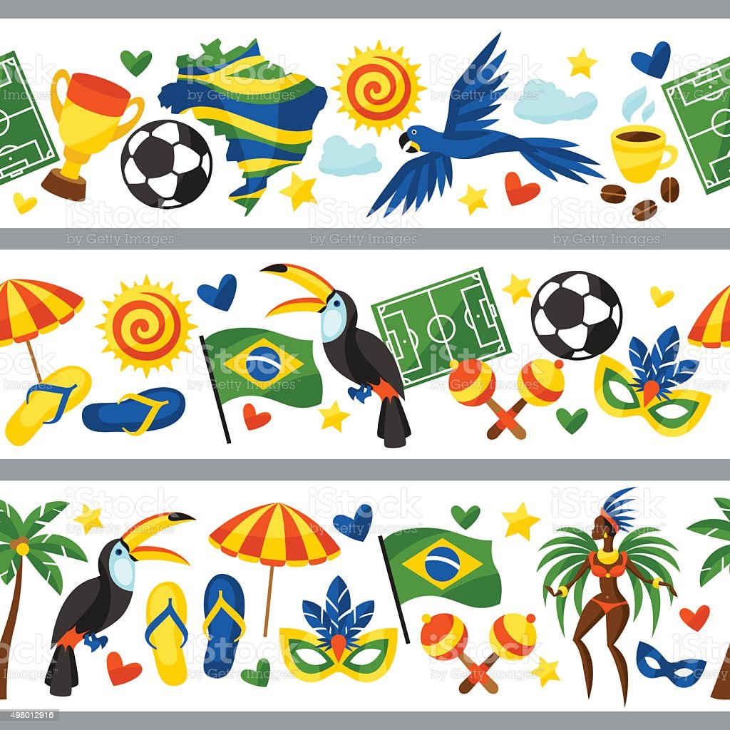 Brazil seamless borders with stylized objects and cultural symbols vector art illustration
