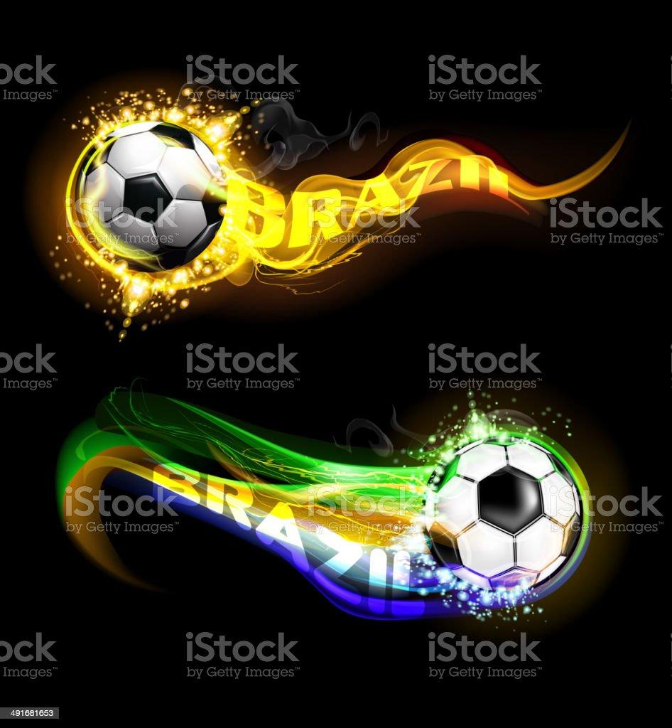 Brazil Soccer Ball on fire trail vector art illustration