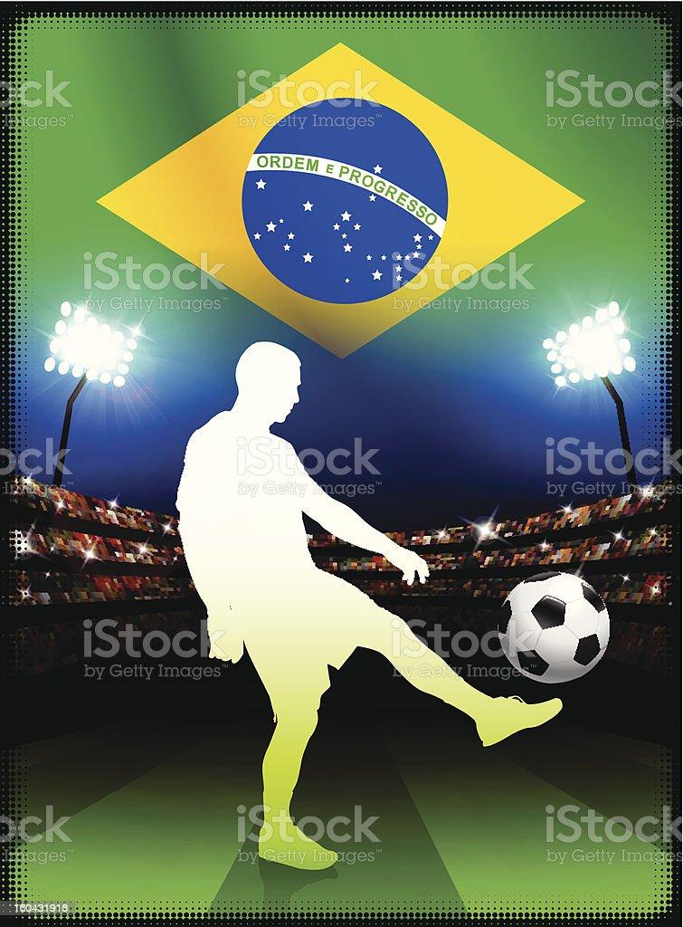 Brazil Soccer Player on Stadium Background royalty-free stock vector art
