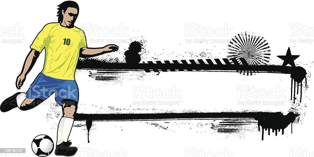 brazil striker with grunge banner vector art illustration