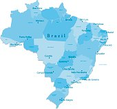 Brazil Vector Map Regions Isolated