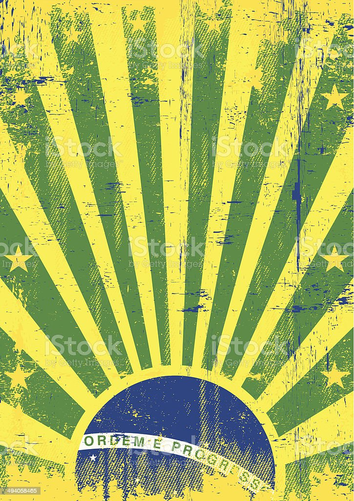 Brazil vintage sunbeams vector art illustration