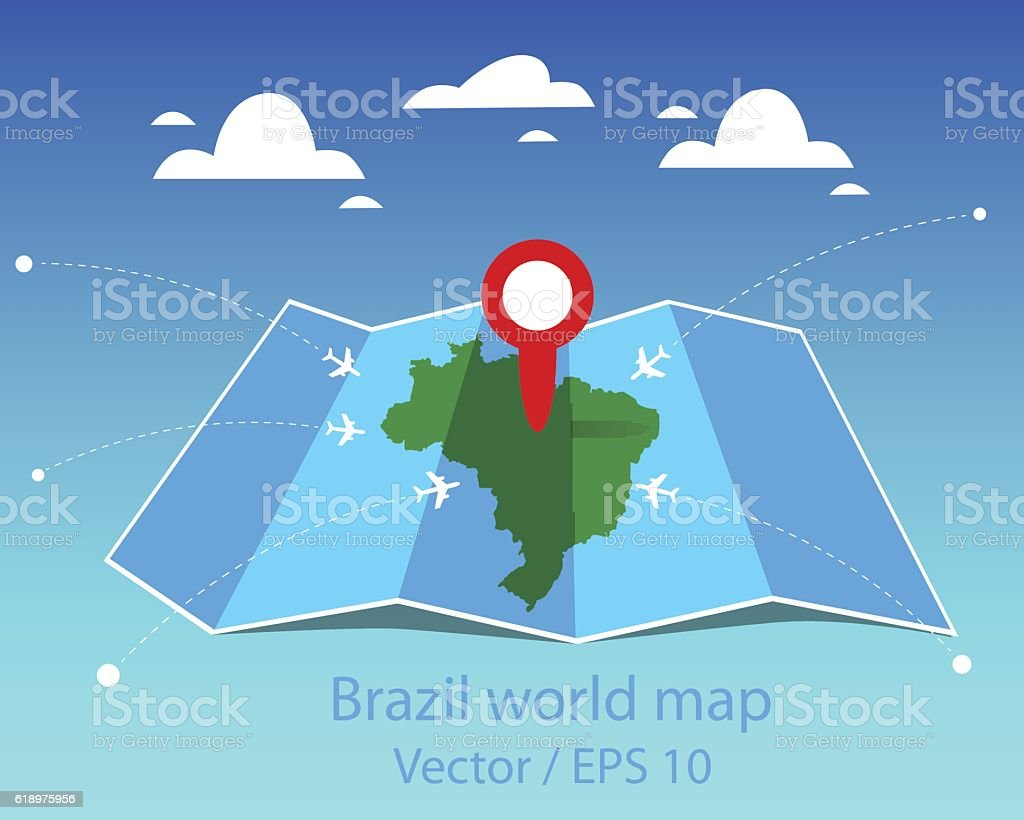Brazil World Map stock vector art 618975956 – Map World Brazil