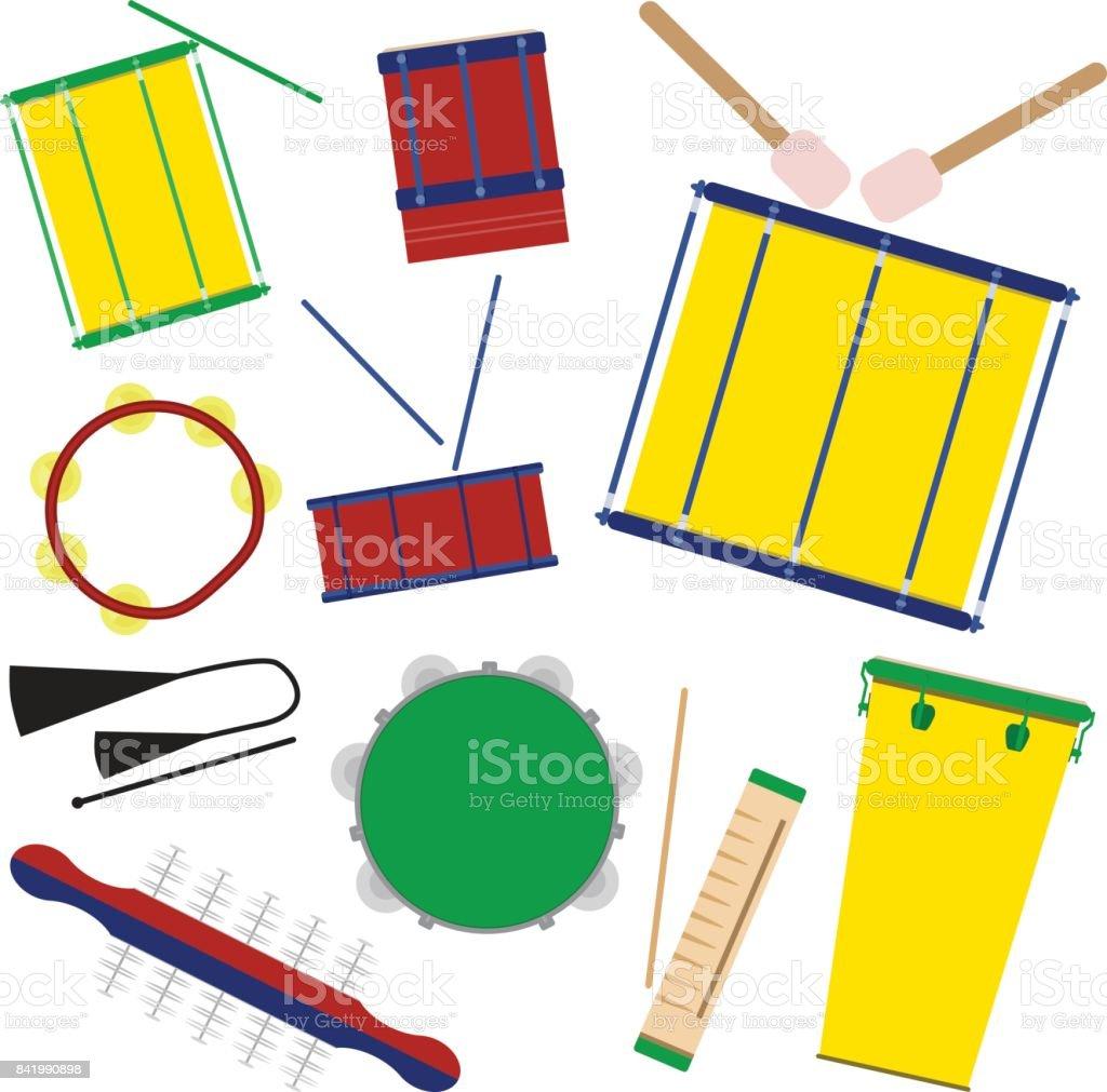 Brazilian carnival music instruments. vector art illustration