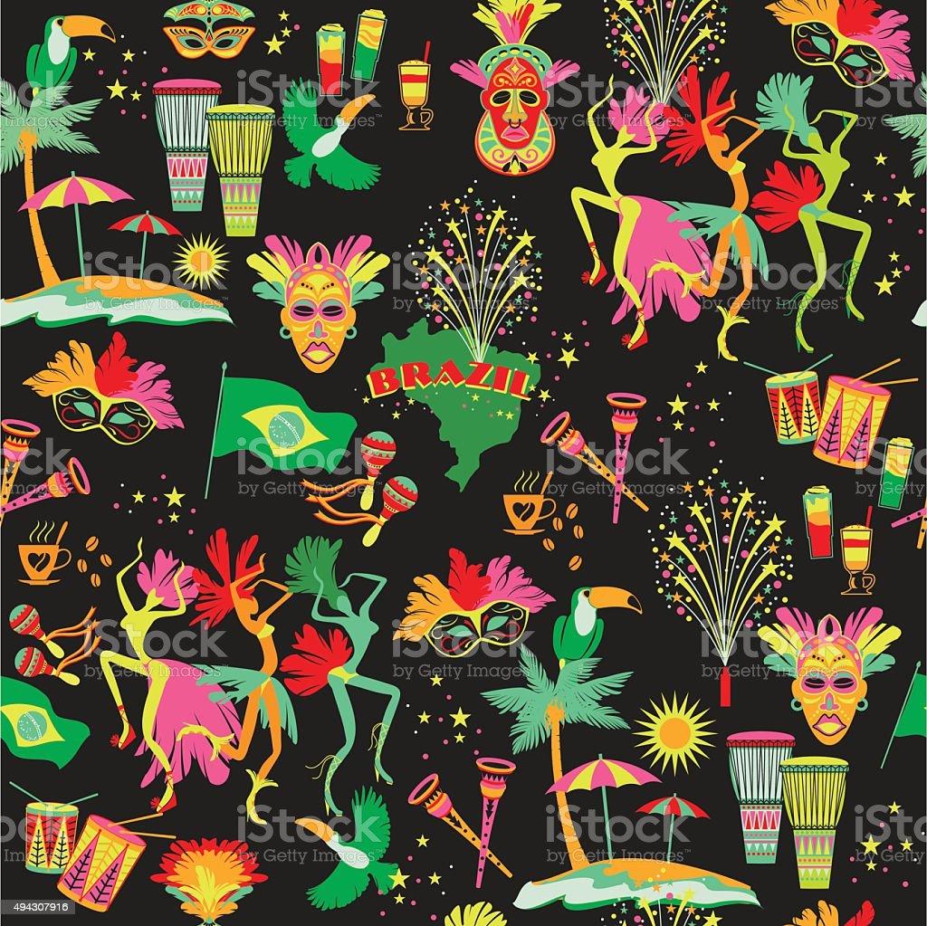 Brazilian Carnival. Vector seamless pattern. vector art illustration