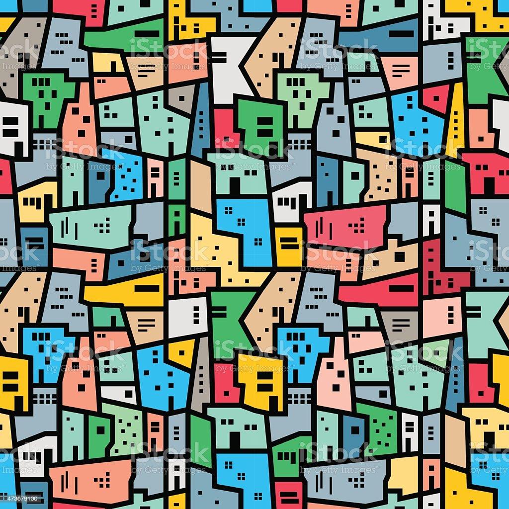 Brazilian favela. Bright colored seamless pattern. vector art illustration