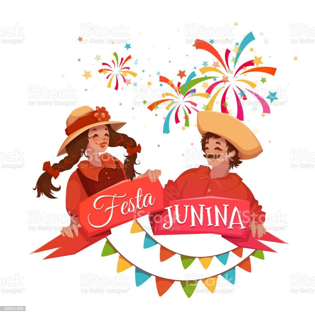 Brazilian Festa Junina Party banner. Vector illustration vector art illustration