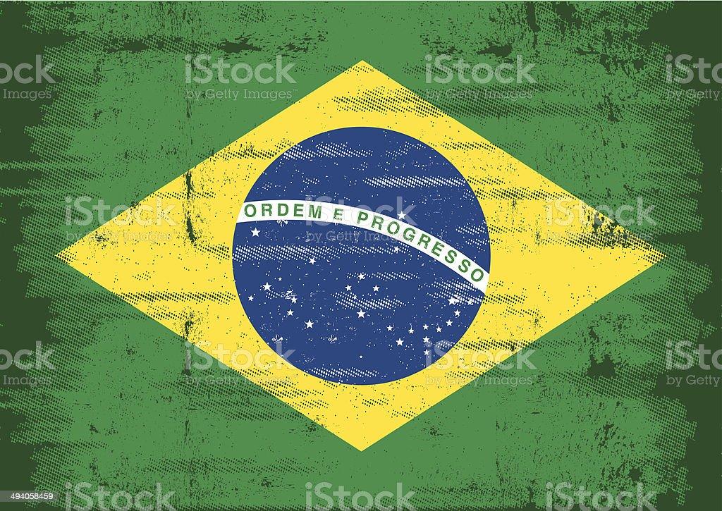 Brazilian grunge flag vector art illustration