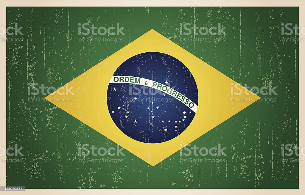 Brazilian grunge vintage flag vector art illustration