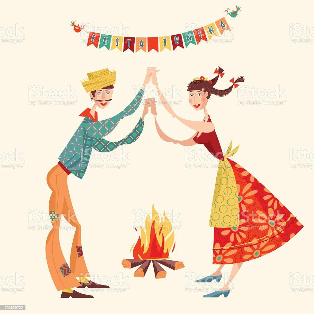 Brazilian holiday Festa Junina. Couple dancing traditional dance Quadrilha. vector art illustration