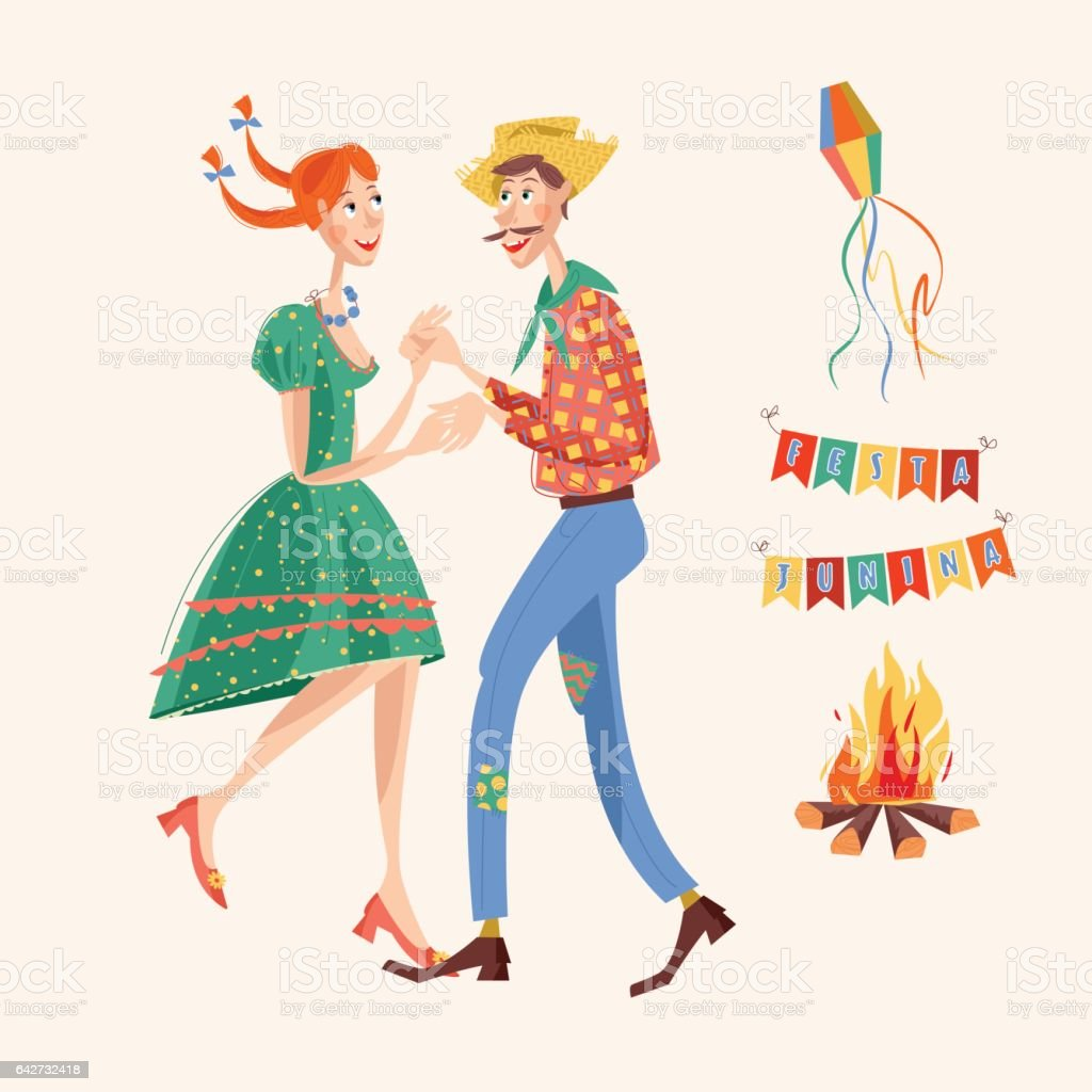 Brazilian holiday Festa Junina (the June party). Couple dancing traditional dance. vector art illustration