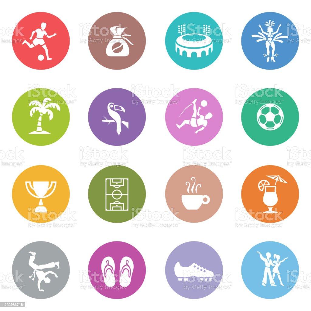 Brazilian Icon Set vector art illustration
