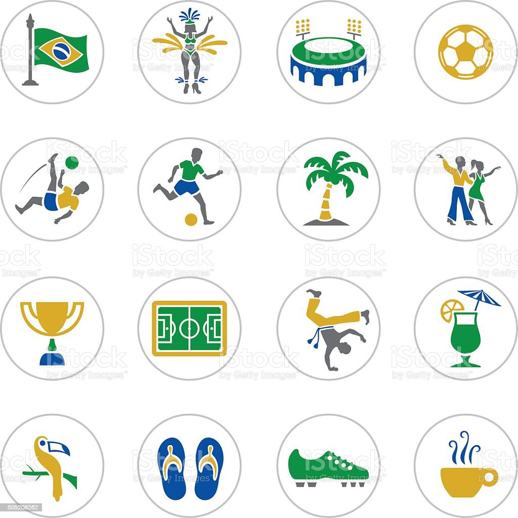 Brazilian Icons vector art illustration