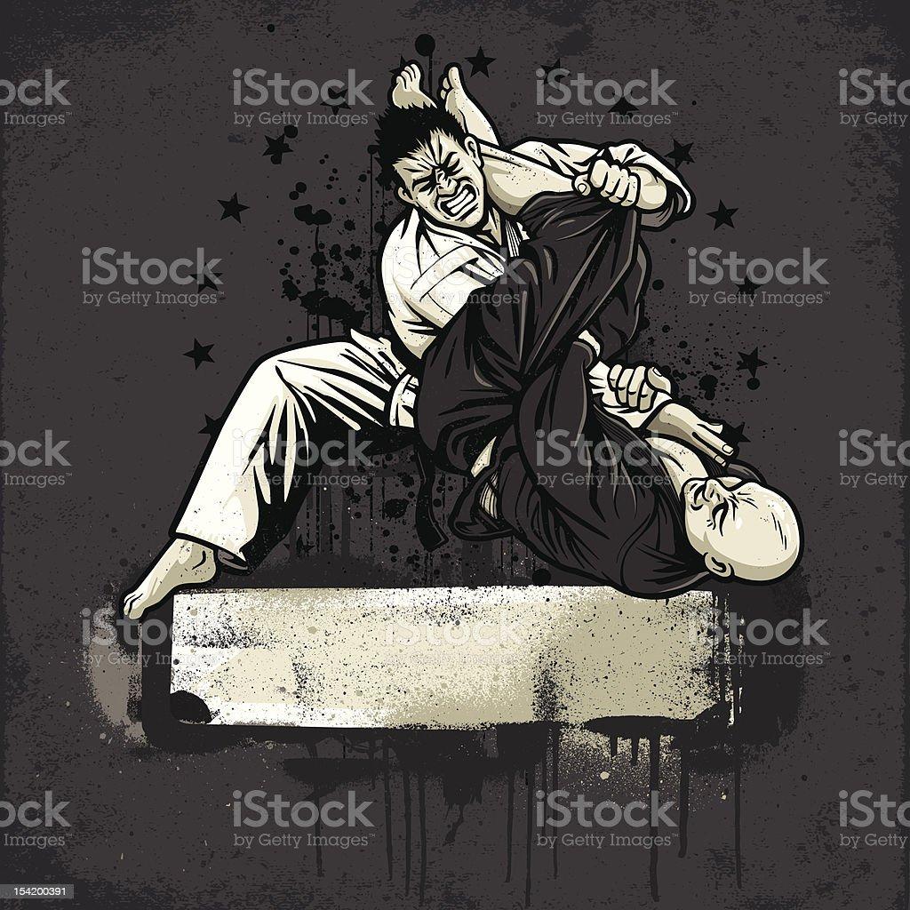 Brazilian Jiu Jitsu Fighters: Armbar from Guard - Grunge Version vector art illustration