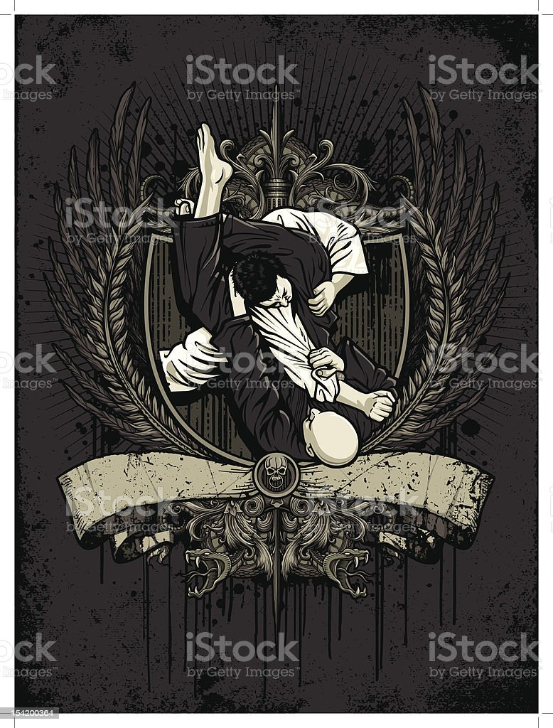 Brazilian Jiu Jitsu Fighters: Traingle Choke Attempt - Heraldry Version vector art illustration