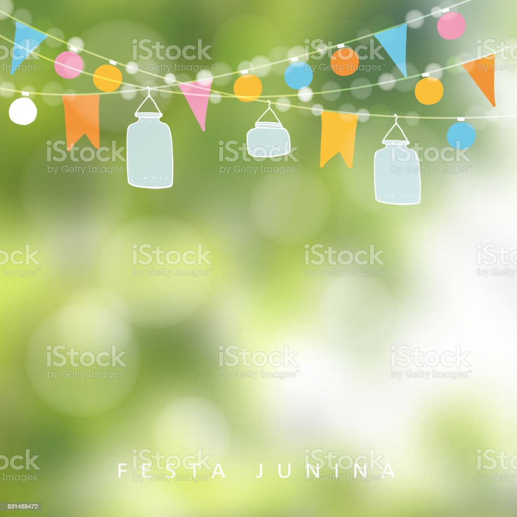 Brazilian june party,  festa junina. Lights, jar lanterns. Birthday decoration. vector art illustration
