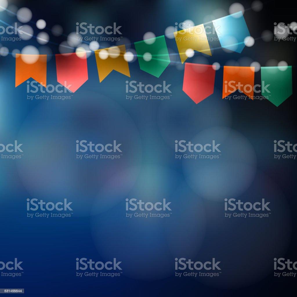 Brazilian june party. Festa junina. Lights, party flags. Party decoration. vector art illustration
