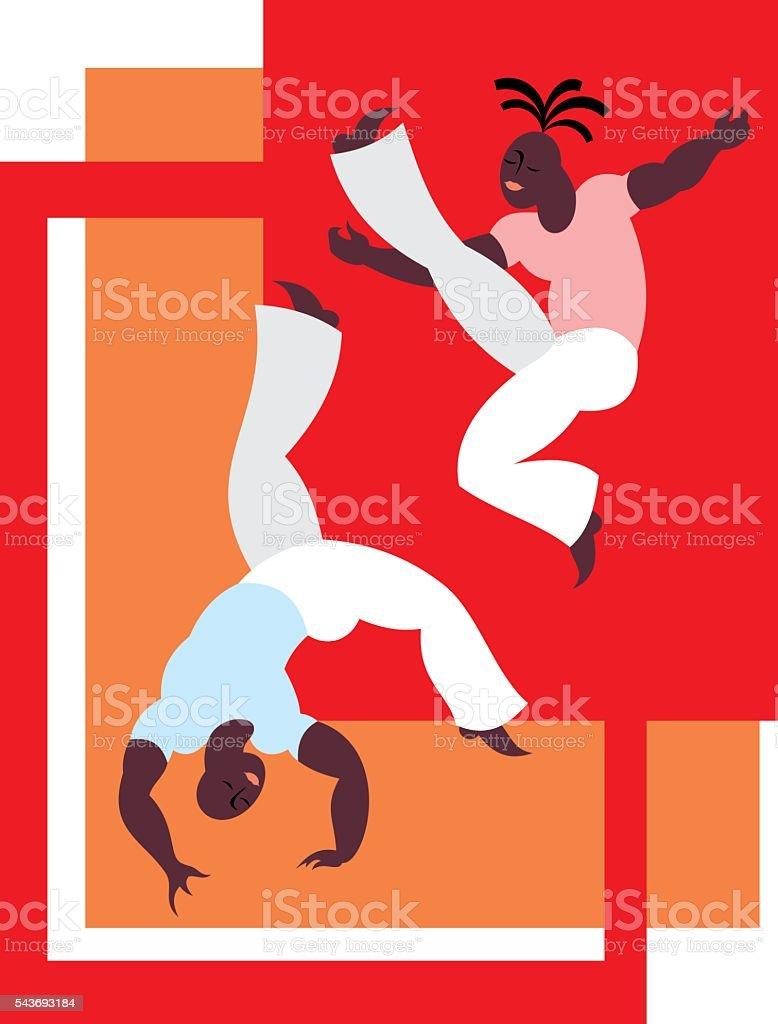 Brazilian martial art vector art illustration