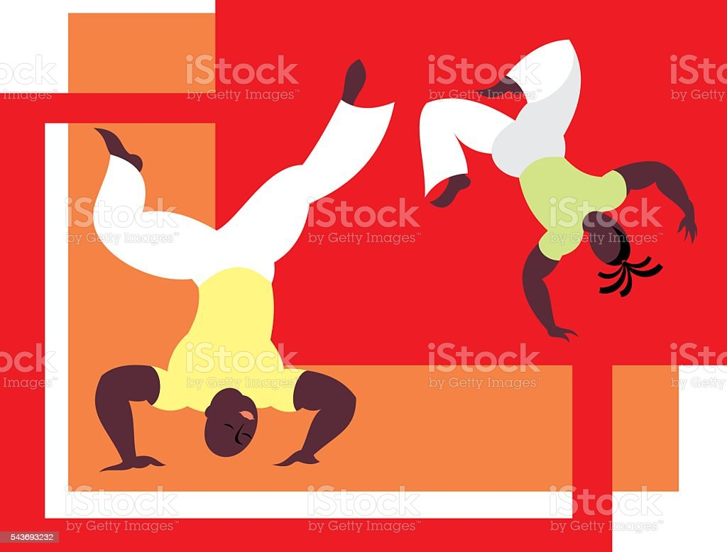 Brazilian national martial art vector art illustration
