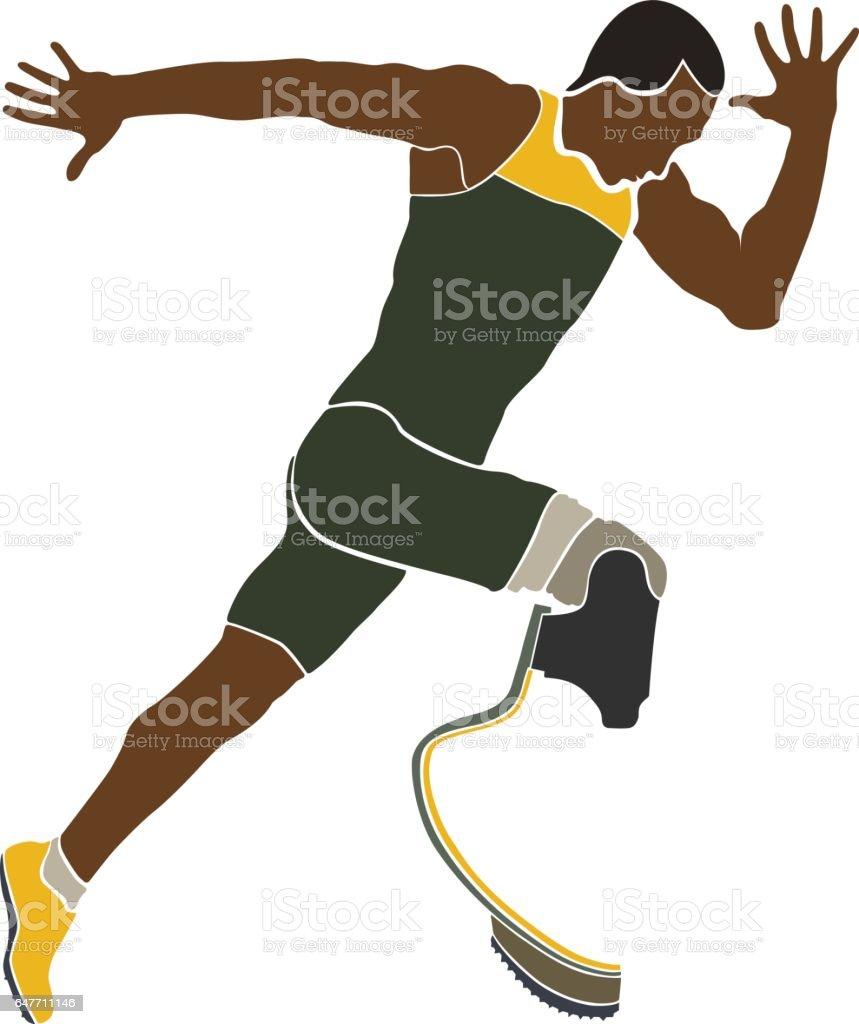 brazilian runner athlete disabled vector art illustration