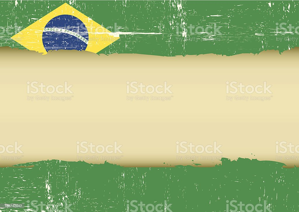 Brazilian scratched flag vector art illustration