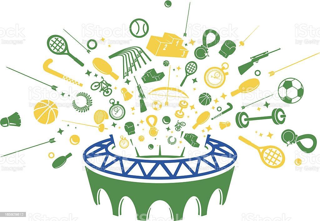 Brazilian Summer Sports Icons vector art illustration