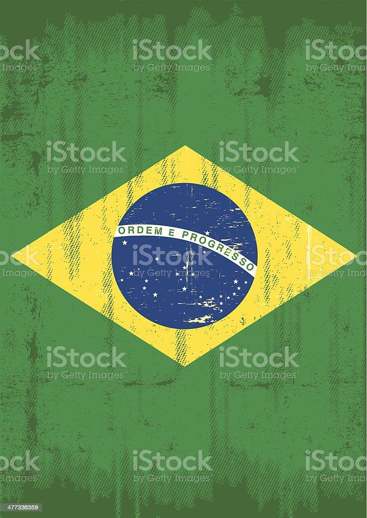 Brazilian vertical grunge flag vector art illustration