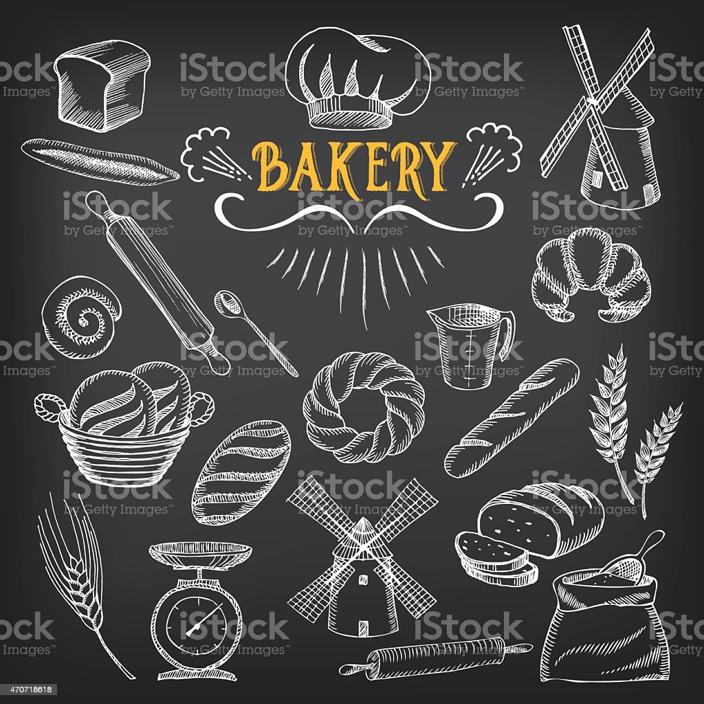 Bread and bakery doodle. vector art illustration