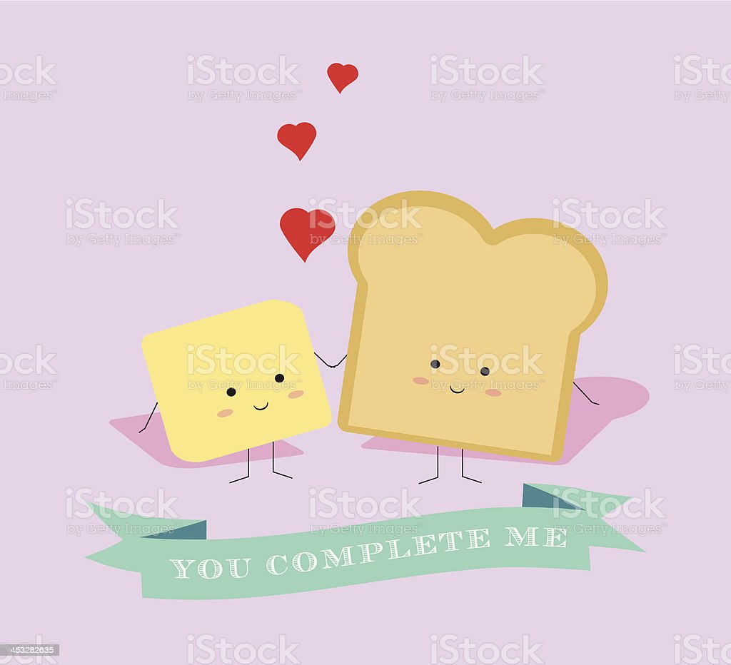 Bread and Butter Valentine vector art illustration