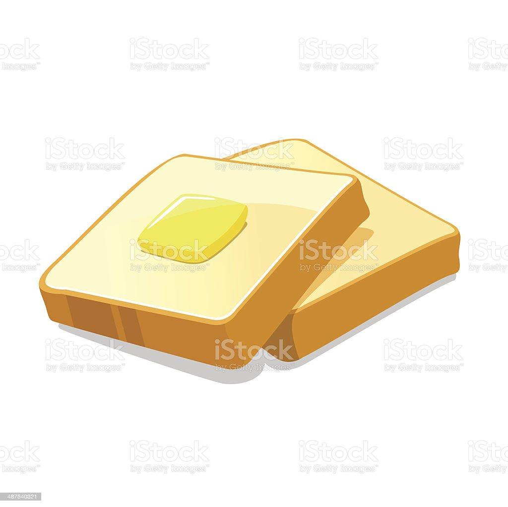 Bread and butter vector art illustration