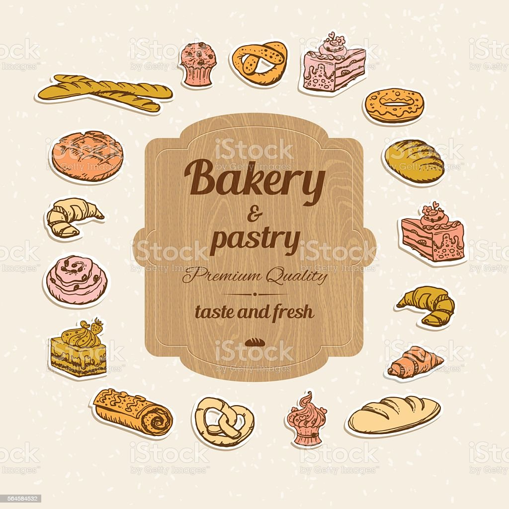 Bread and pastry set vector art illustration