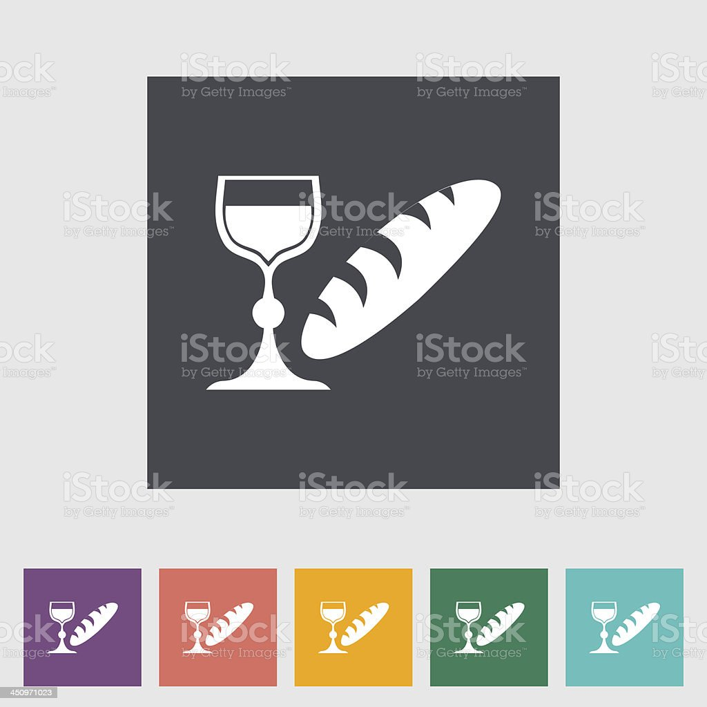 Bread and wine single flat icon. vector art illustration