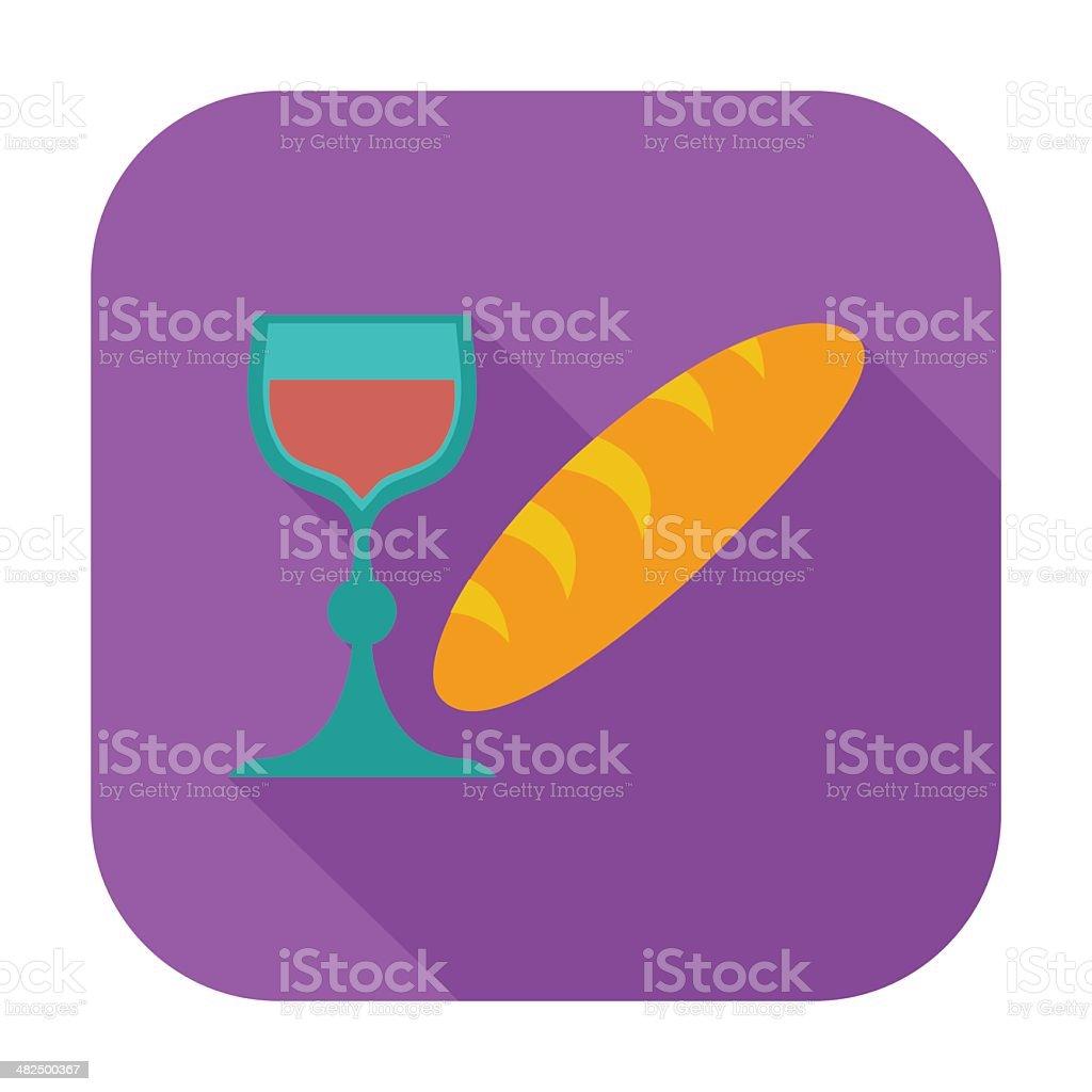 Bread and wine single icon. vector art illustration