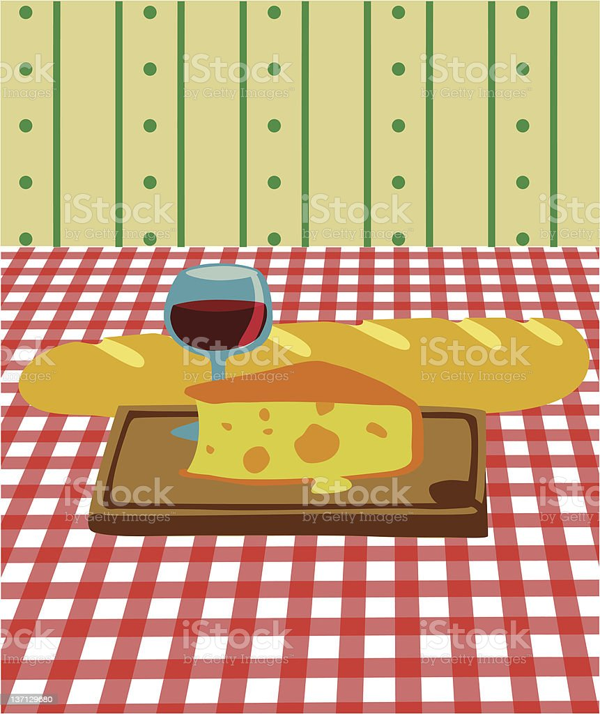 Bread and wine vector art illustration