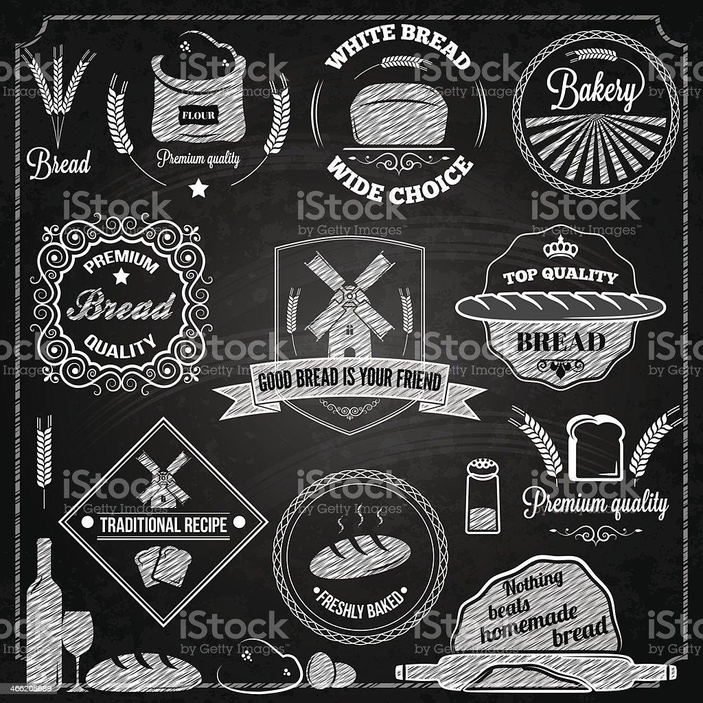bread bakery set elements chalkboard royalty-free stock vector art
