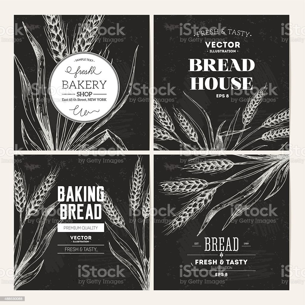 Bread blackboard design template collection. Vector illustration vector art illustration